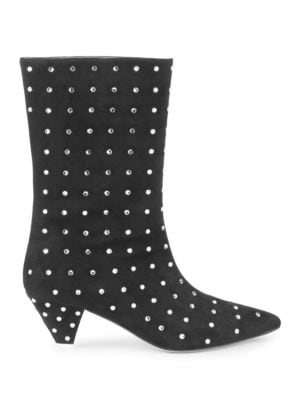 Crystal Studded Suede Boots