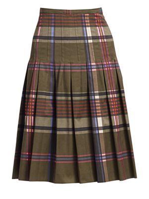 AKRIS PUNTO | Plaid Pleated Bell Skirt | Goxip