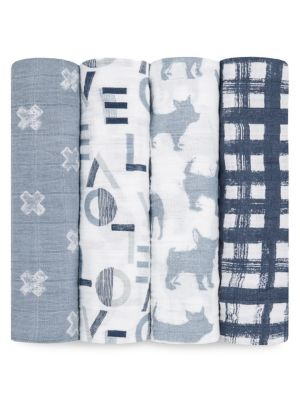 Baby's Four-Piece Cotton Muslin Swaddle Pack