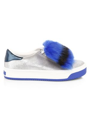 Empire Glitter Faux-Fur Platform Sneakers