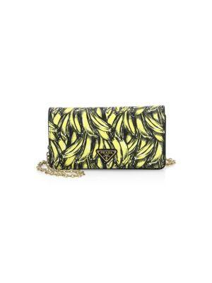 Mini Borse Banana Print Saffiano Leather Crossbody Bag