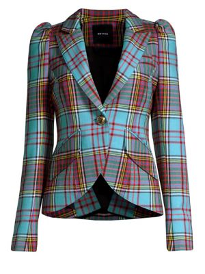 Puff Sleeve Plaid Blazer