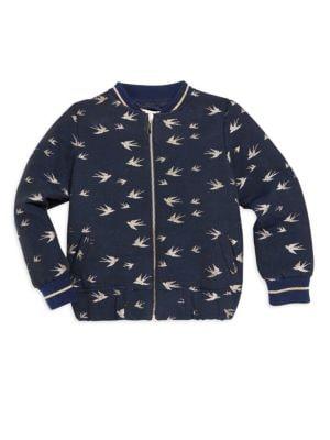 Little Girl's Bird Bomber Jacket