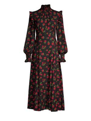 Crushed Ruffle Rose-Print Midi Dress