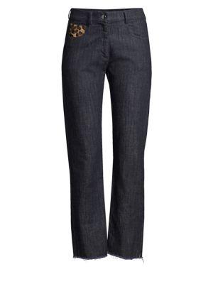 Straight-Leg Patch Jeans