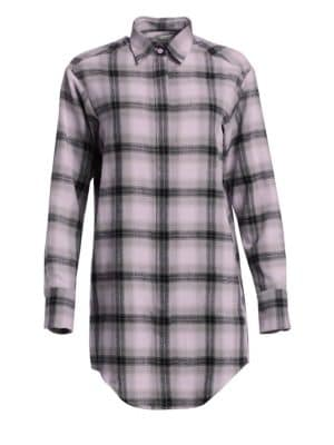 Flannel Check Graphic Blouse