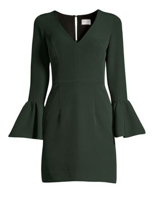 Italian Cady Morgan Bell-Sleeve Sheath Dress
