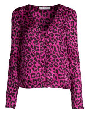 Leopard Print Silk Jacquard Blouse