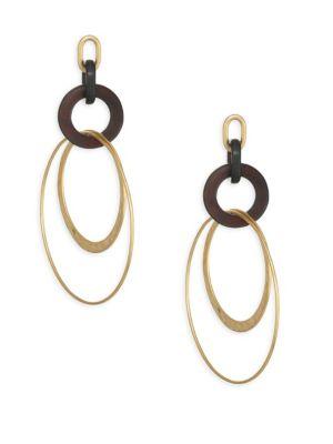 CHAN LUU Black Horn Layered Hoop Earrings