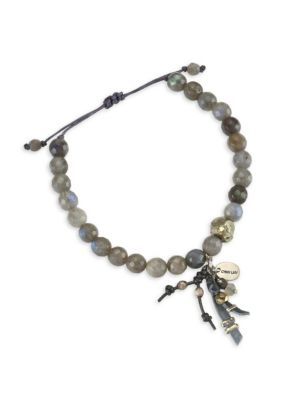 Labradorite Leather Tassel Bracelet