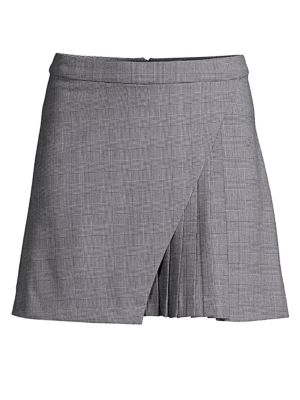 Nadine Faux Wrap Check Pleated Skirt