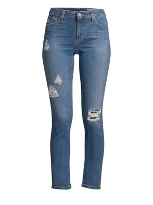 AG | Prima Ankle Mid-Rise Distresed Jeans | Goxip