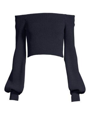 Off-The-Shoulder Crop Sweater