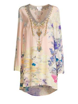 Embellished Floral Silk V-Neck Dress