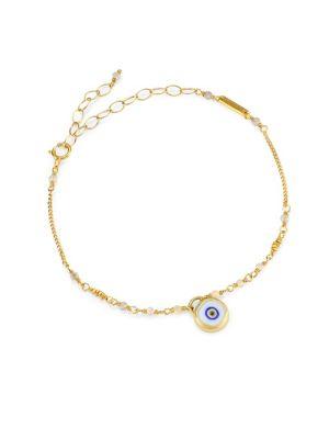 CHAN LUU White Mix Evil Eye Charm Bracelet