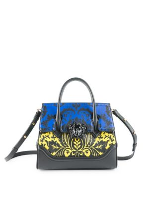Vitello Floral Leather Top Handle Bag