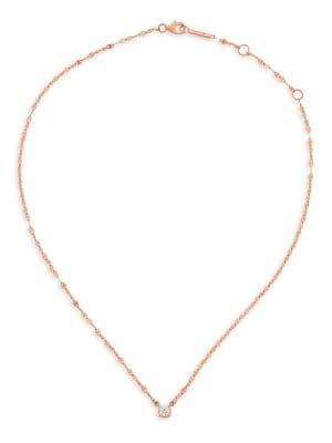 Solo Diamond & 14K Rose Gold Pendant Necklace