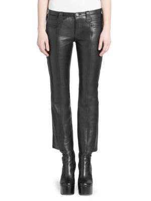 Cropped Kickflare Leather Pants