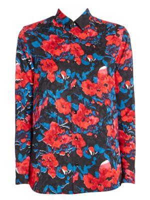 Peony Print Jacquard Button-Down Shirt