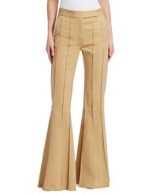 Pleated Khaki Flare Pants