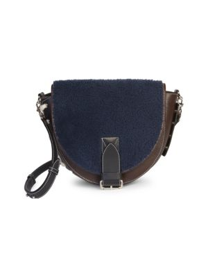 Shearling & Suede Saddle Bag by Jw Anderson