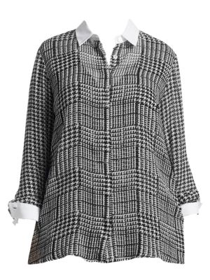Houndstooth Check Button-Down Blouse