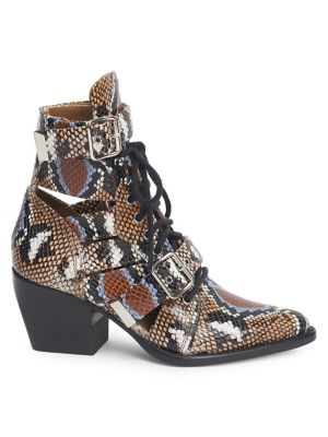 Python Print Leather Lace-Up Ankle Boots