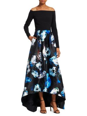 THEIA Off-The-Shoulder Floral Gown
