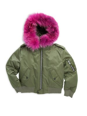 Girl's Jenny Coyote Fur-Trim Down Bomber Jacket