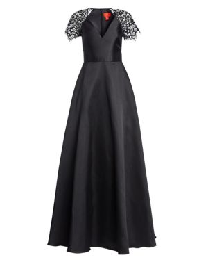 Lace-Sleeve A-Line Gown
