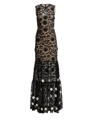 ML MONIQUE LHUILLIER Sleeveless Lace Gown