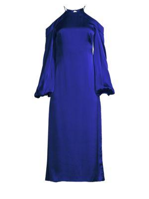 AMUR | Francine Silk Cold Shoulder Midi Dress | Goxip