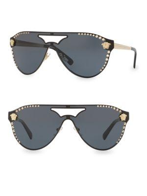 VERSACE 42MM VE2161 Embellished Aviator Sunglasses