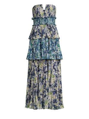 AMUR | Mel Abstract Print Strapless Midi Dress | Goxip