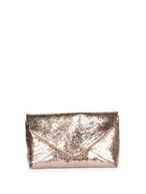 Croc-Embossed Metallic Leather Envelope Clutch
