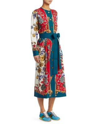 Long-Sleeve Silk Twill Border Detail Floral Dress, Blue Red Floral