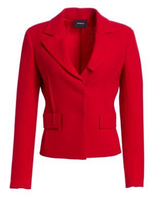 Crepe Waist Seam Lapel Collar Jacket