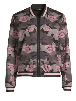 Collegiate Flower Camo Bomber Jacket