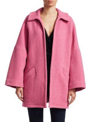 Husk Open Front Chevron Wool Coat