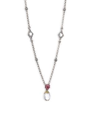 Pythia Crystal, Corundum, Sterling Silver & 18K Yellow Gold Pendant Necklace