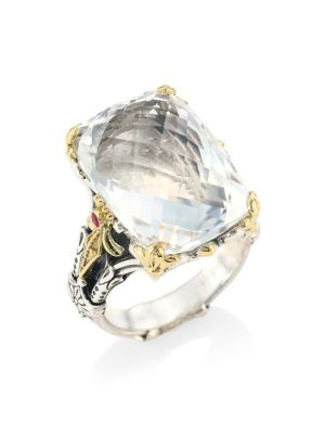 Pythia Crystal, Corundum, Sterling Silver & 18K Yellow Gold Cocktail Ring