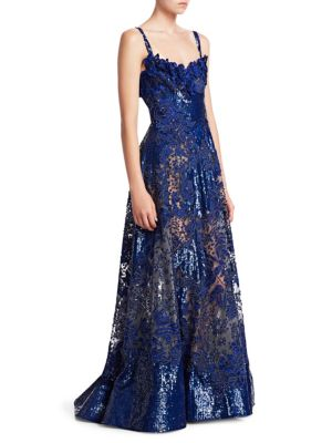 ELIE SAAB Embroidered & Sequined Gown