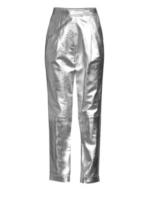 Metallic Leather Trousers