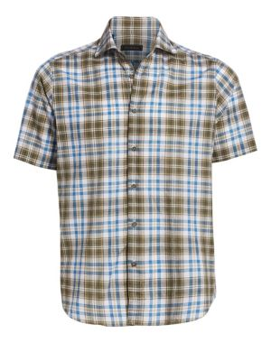 COLLECTION Cotton & Linen Plaid Shirt