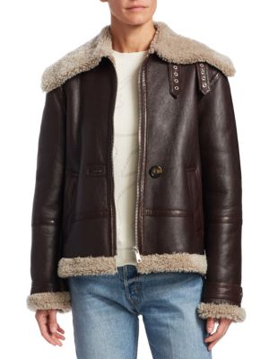 Shearling Trimmed Aviator Jacket