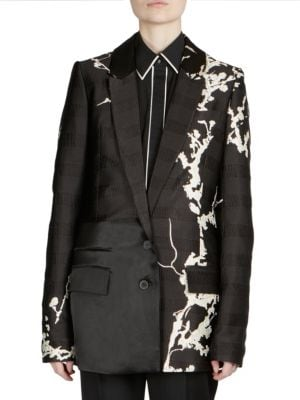 Contrast Embroidered Blazer