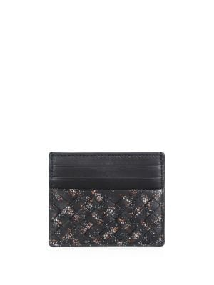 BOTTEGA VENETA Intrecciato Microdots Leather Card Case