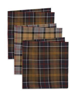 Classic Accessories Set Of Three Tartan Pocket Squares