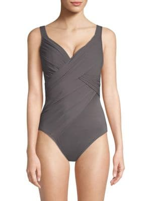 MIRACLESUIT SWIM Rock Solid Revelle One-Piece Swimsuit in Mineral Grey