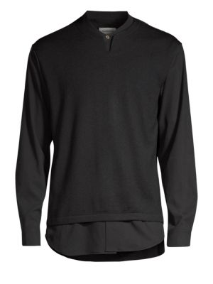 SOLID HOMME Layered Wool-Blend Sweater